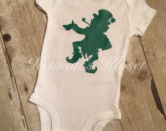 Leprechaun Bodysuit, St Patrick's Day Bodysuit, Baby Bodysuit, Custom Made Bodysuit, Baby Boy, Baby Girl, St Patty's Day, St. Patrick's Day