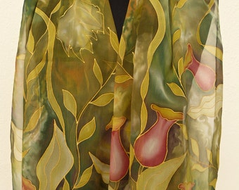 Olive green chiffon silk scarf Hand painted. Floral Autumn colors pure silk scarf Crimson flowers. Enchanted woodland silk scarf handpainted