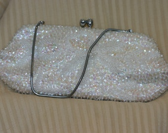 Vintage white beaded evening bag with diamante clip