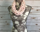 Abstract Lightweight Double Wrap Infinity Scarf (Cream/Pink)