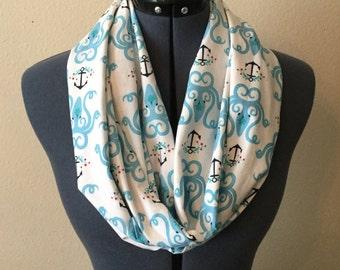 Octopus Infinity Scarf / Sea Creature / Anchor / Floral / Flowers / Tentacle / Kraken / Infinity Scarf / Scarf / Animal / Nautical / Blue