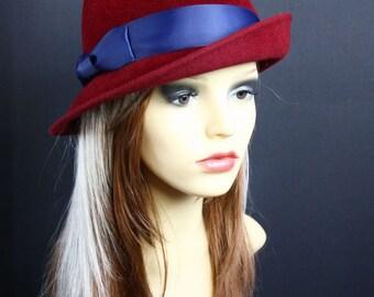 """Felt Hat """"Trilby Bordo"""", women's cloche hat in vinous, Classic Millinery Style"""