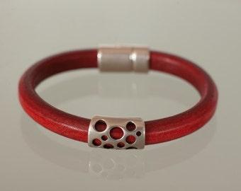 Ruby Deep Licorice Leather Wrist Wrap with Slide(s) Bracelet Nickel-Free Jewelry