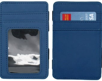 Blue Leather Magic Wallet Credit Card Holder Money Clip With Outside ID Window
