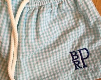 Baby or toddler boy monogrammed swim trunks