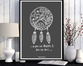 Poster dreamcatcher, Inspirational poster, Inspirational quote, Dreamcatcher, Poster download, Home decor, Wall quote, Printable wall art