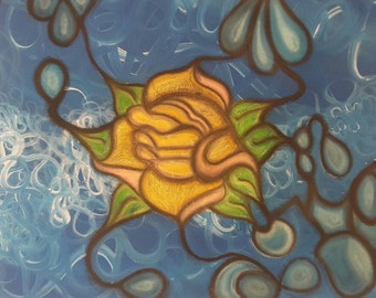 Tangled Lotus- Original mixed media, acrylic and pastel painting on canvas