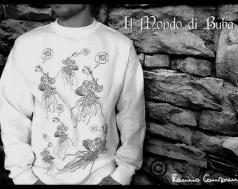 "White unisex sweatshirt with ""Jellyfish Free Style"" de: ""Buba""."
