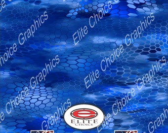 "Chameleon Hex 3 Blue 15""x52"" or 24""x52"" Truck/Pattern Print Tree Real Camouflage Sticker Roll or Sheet"