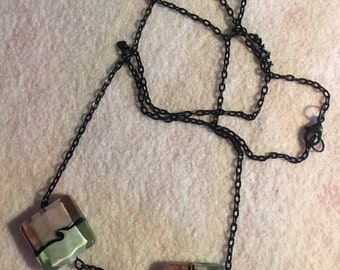 Black Chain Necklace with Green and Purple Glass Beads