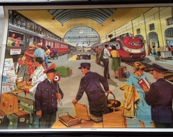 "Vintage ""The Railway Station / Bahnhof / La Gare"" Pull Down Chart-German Mid Century Transportation"