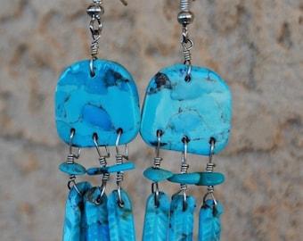 Kingman Turquoise Feather Earrings