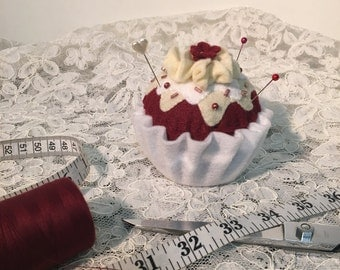 Red Velvet Cupcake Pin Cushion