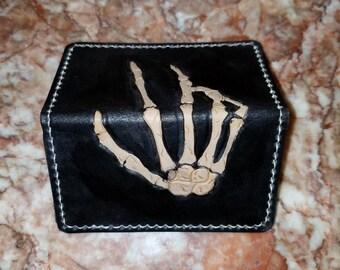 "The ""Skeleton's Hand"" Leather Handmade Custom Slim Business Card/Credit Card Wallet"