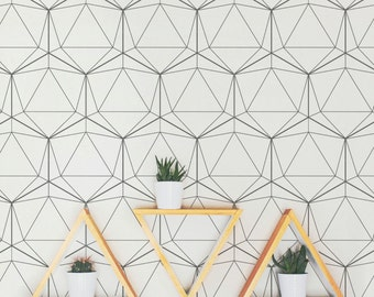 Geometric Wallpaper / Traditional or Removable Wallpaper A006