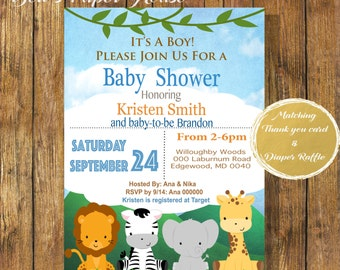Digital File or Printed,Baby Boy,Safari Baby Shower Invitation, Jungle Animals Baby Shower, Born To Be Wild,Free Shipping & Envelopes