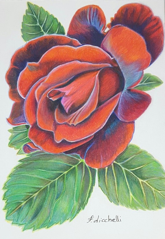 Red rose,leaves,original drawing,ooak,pencils and pastels on paper,30x21cm./11,8x8,3 inc.,gift idea,wall art,kitchen,decoration