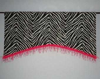 Black and White Zebra Valance with Pink Trim