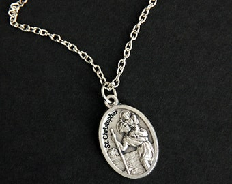 Saint Christopher Necklace. Christian Necklace. St Christopher Medal Necklace. Patron Saint Necklace. Catholic Jewelry. Religious Necklace.
