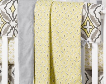 Yellow and Gray Clover Minky Receiving Blanket | Faux Fur Baby Blanket