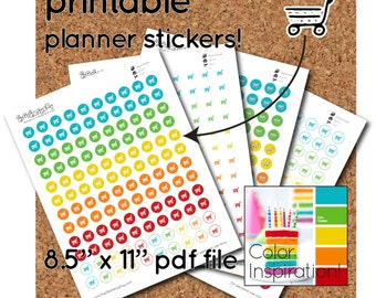 Printable Shopping Cart Stickers - half-inch round - 120 per sheet - stickers for planners and calendars
