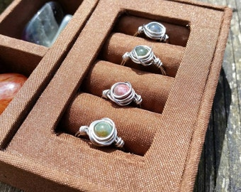Silver-plated Indian Agate wire wrap Ring