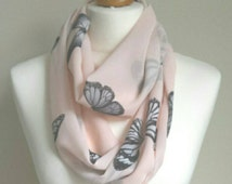 Pink Butterfly Scarf, Butterfly Scarf, Chiffon Infinity Scarf, Infinity Scarf, Ladies Scarves, Loop Scarf, Spring Scarf, Womens Scarves