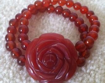 Carnelian Agate Beaded Bracelet