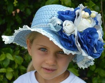 Girls Tea Party Hat, Flower Girl Hat