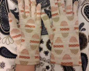 Terracotta and Cream Tapestry 60s/70s Winter Gloves Size Small Autumnal