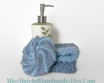 SALE  Organic Cotton Spa Set With Knitted Loofah  Exfoliating Lavender And  Blue Cloth Set