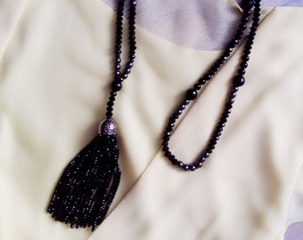 SALE. Long Necklaces made of natural stone. Crystal, agat, hematite