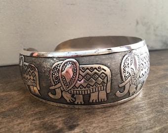 Tribal Cuff Bracelet Bohemian Bracelet Boho Bracelet Silver Cuff Bracelet Elephant Bracelet Adjustable Bracelet