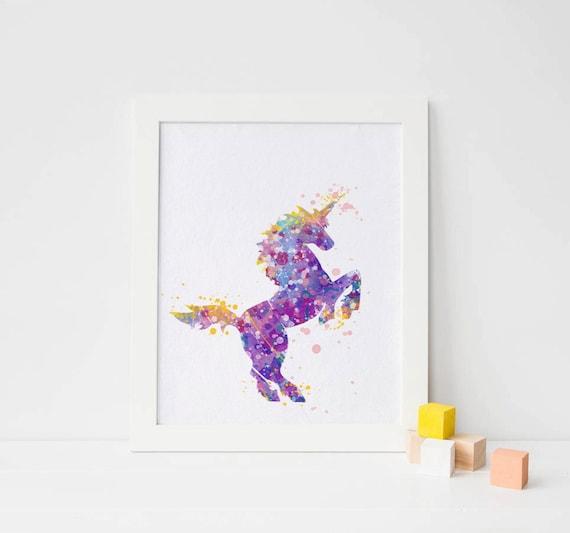 unicorn print unicorn watercolor unicorn wall art print. Black Bedroom Furniture Sets. Home Design Ideas