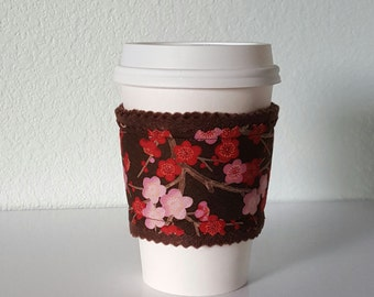 SALE Coffee Sleeve felt coozie fabric *seconds* (brown felt with pink and red blossoms)