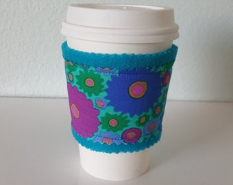 SALE, Coffee Sleeve, coffee cozy, felt and fabric coffee sleeve *seconds* (aqua felt with modern floral blue, green, violet)
