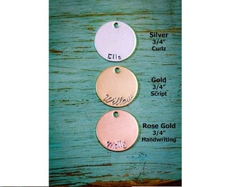 SALE • 3/4 inch Disc Add-On • Handstamped Disc • Sterling Silver Disc • 14K Gold Disc • Rose Gold Disc • Custom • Round Charm • Round Disc