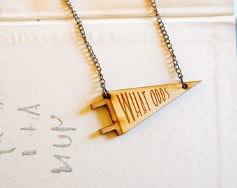 WHAT ODDS Laser-cut Pennant Necklace