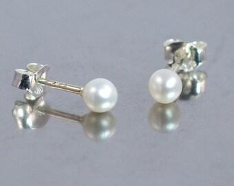 White Pearl Stud Earrings, 3mm White Pearl Sterling Silver Stud Earrings, Tiny Pearl Stud Earrings, Mini Stud Earrings