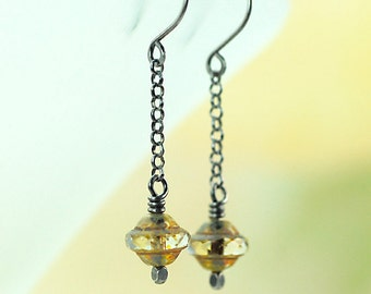 Oxidized Sterling Silver Earrings with Czech Faceted Beads, Long Dangle Earrings, Czech Glass