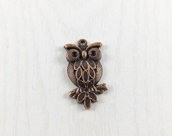 2 Copper Owl Charms, Owl Charm, Bird Charm, Jewelry Making, Metal Charms, C1159