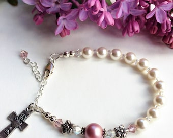 First Communion Rosary Bracelet, Darling Pink Flower Bracelet, Swarovski and Pearl, First Communion Gift for Girl