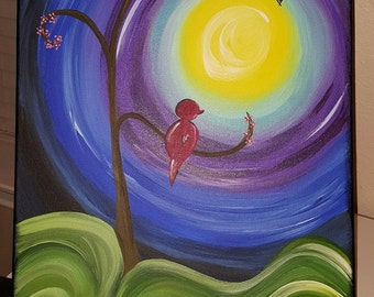 Red Bird Hanging Heart on Canvas