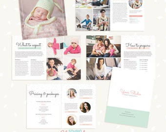 Newborn Photography Magazine, 10 pages, Template for photographers, Newborn Magazine Template, Magazine Photoshop Template, PSD magazine