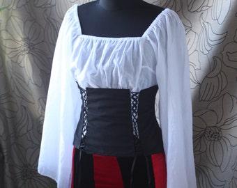 Women's Pirate corset, steampunk corset , Victorian  corset,  Rustic  black corset victorian clothing