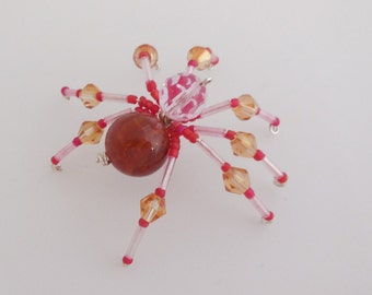 Amber, Pink Beaded Spider