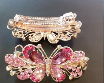pink butterfly  barrette