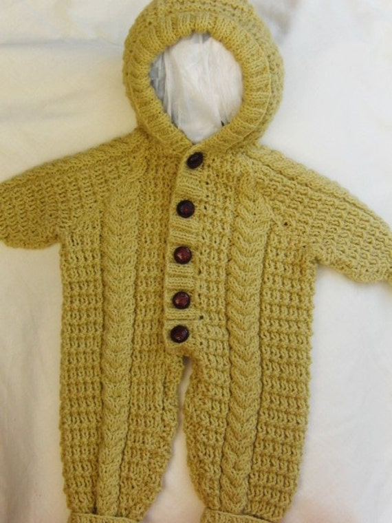 Knitted All In One Baby Suit Pattern : Hand Knitted Unisex Baby All in One Suit by Creationsfortinytots