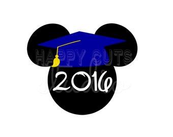 Personalized Graduation Mickey Decal / Graduate Grad School College 2016 Year Grad Tassel Hat Mouse Disney Iron On Decal Vinyl for Shirt 075
