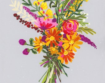 Purple and yellow Bouquet on light grey